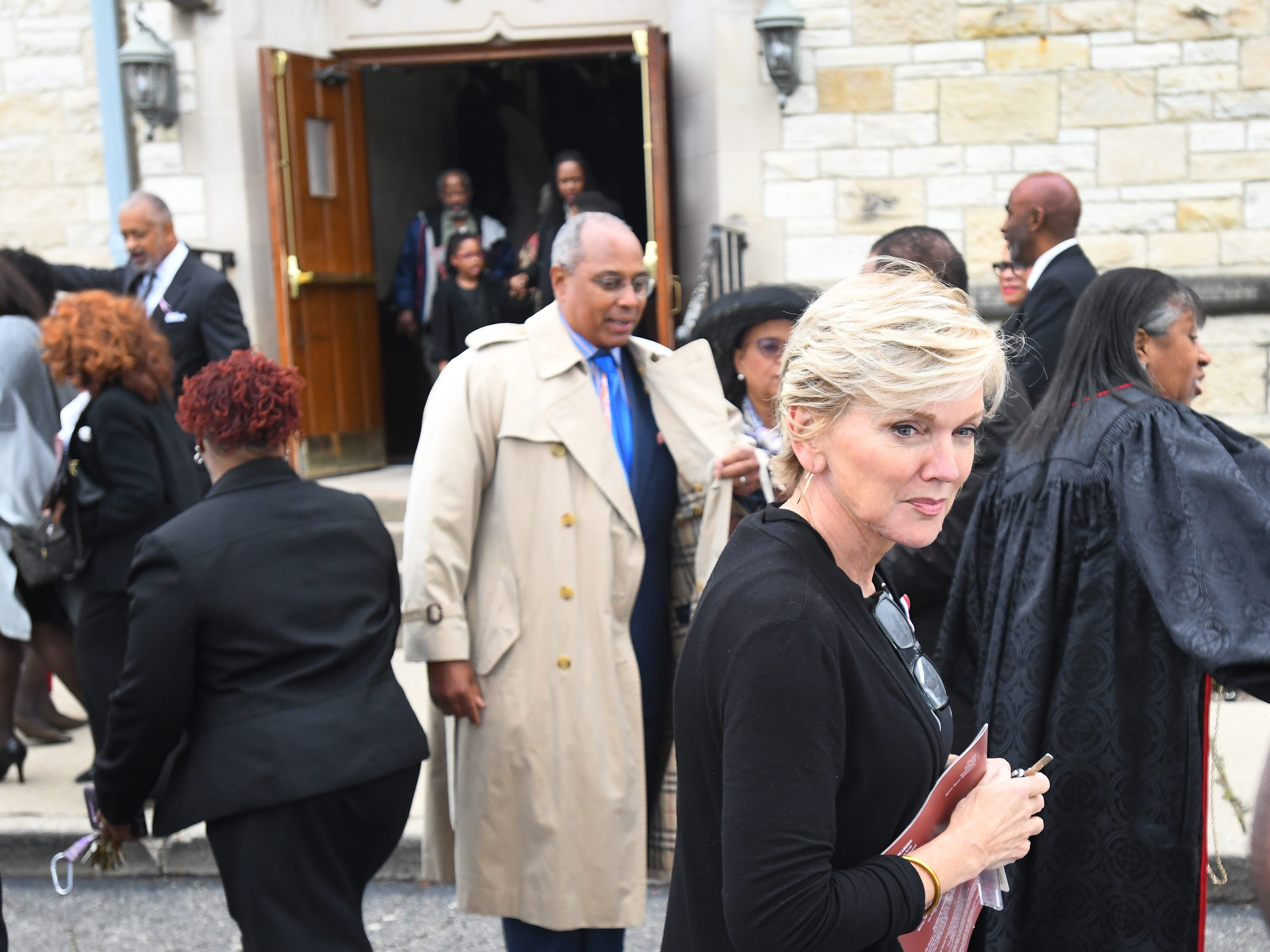 Former Michigan Governor Jennifer Granholm leaves the church after the funeral of Judge Damon Keith.
