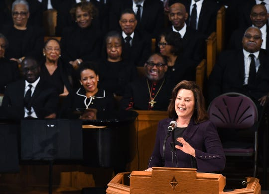 Michigan Governor Gretchen Whitmer speaks during the funeral of Judge Keith.