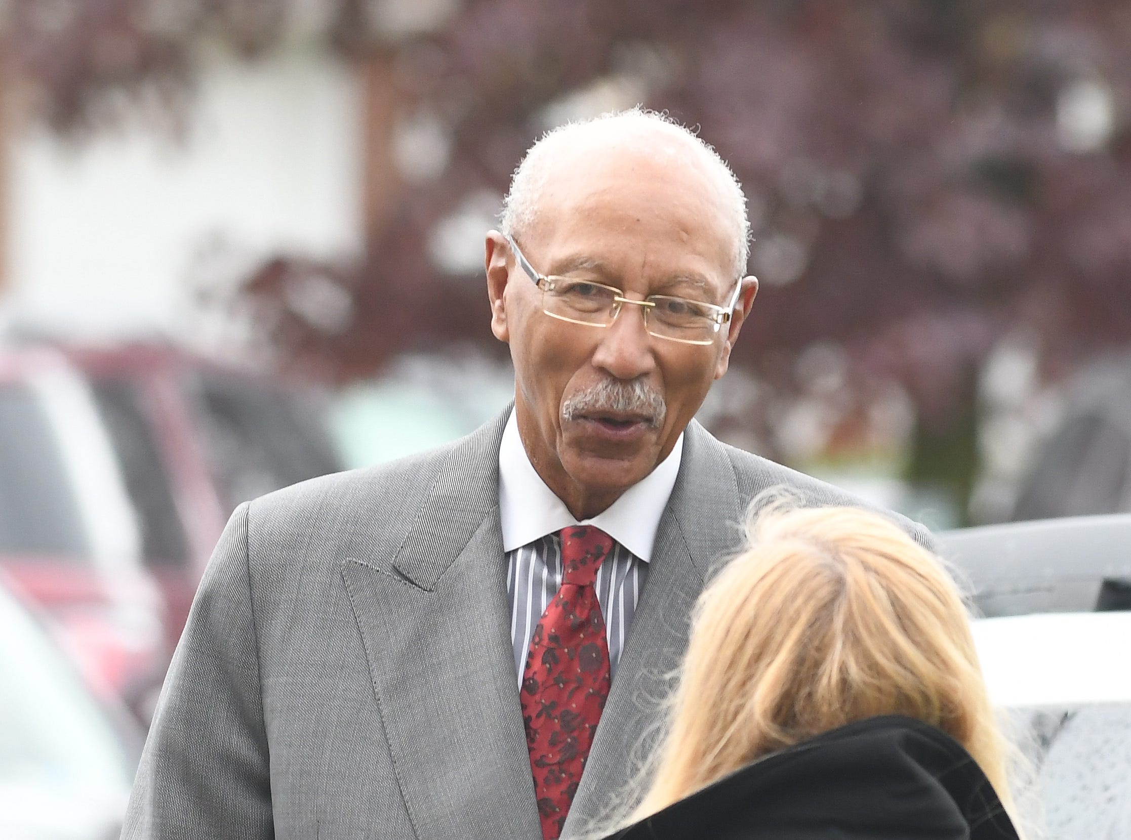 Former Detroit Mayor Dave Bing arrives for the funeral of Judge Damon Keith.