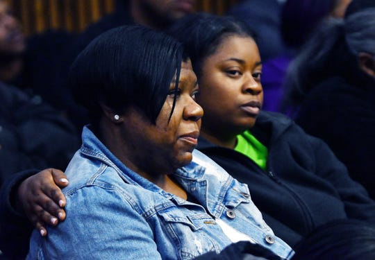 Monique Grimes, left, the mother of Damon Grimes is consoled by a family member during the sentencing of Mark Bessner for the death of her son Damon Grimes.