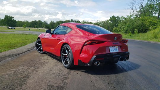 Big hips: The 2020 Toyota Supra shows off its muscular rear hindquarters. With sticky, 10.8-inch rear tires the car has plenty of grip around corners.