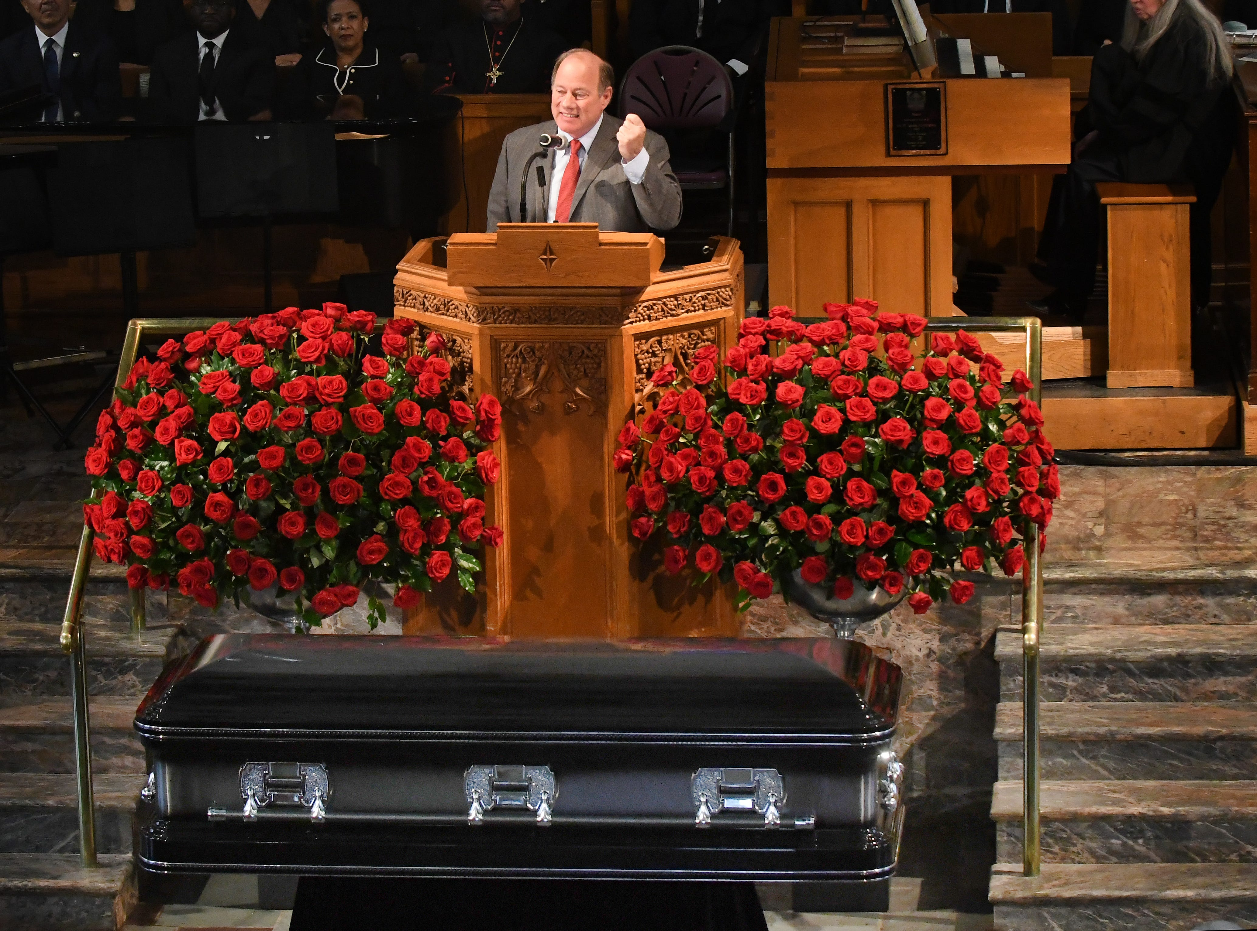 Detroit Mayor Mike Duggan speaks at the podium during the funeral of Judge Keith.