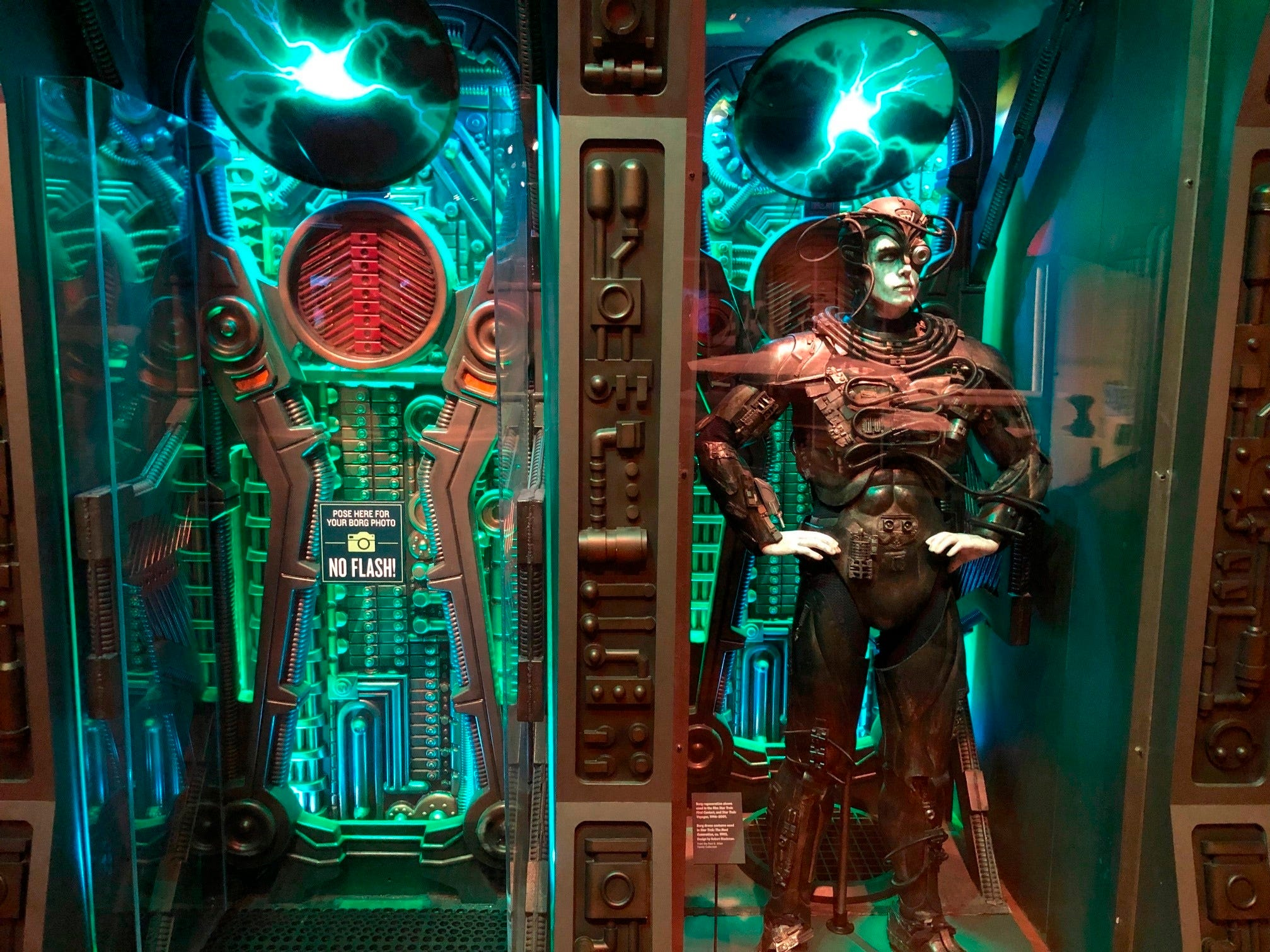 """In this May 9, 2019 photo, a Borg costume from """"Star Trek: The Next Generation"""" is displayed at the """"Star Trek: Exploring New Worlds"""" exhibit at The Henry Ford Museum in Dearborn, Mich. The traveling exhibition runs through Sept. 2 at the museum and offers a look at more than 100 artifacts and props from the original TV series and its spinoffs. It also explores its enduring impact on culture, from arts and technology to fashion and literature."""