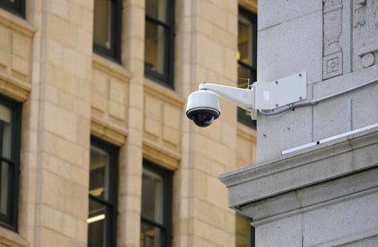 In this photo taken Tuesday, May 7, 2019, is a security camera in the Financial District of San Francisco.