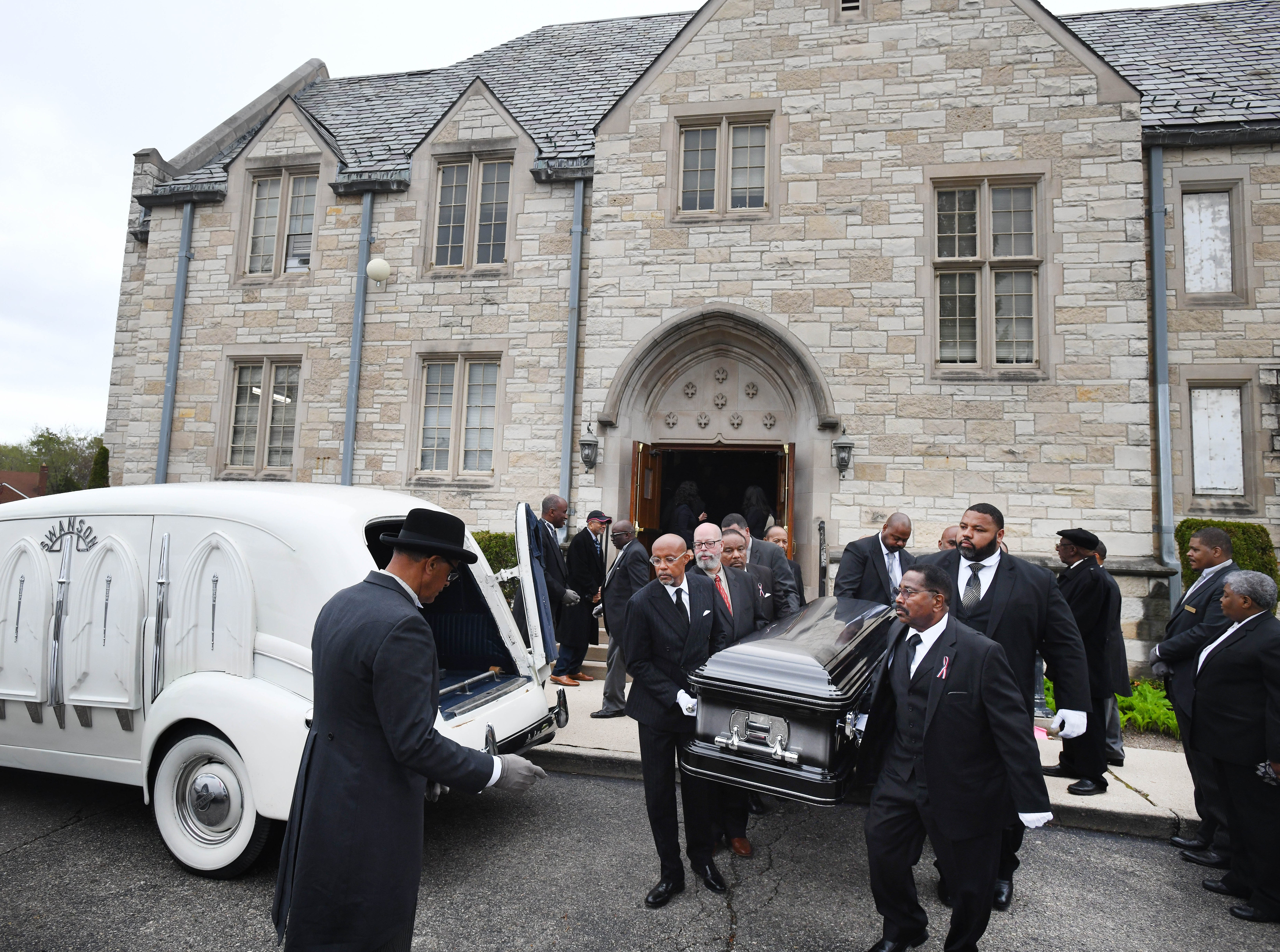 The casket of Judge Damon Keith is taken from Hartford Memorial Baptist church after the funeral.