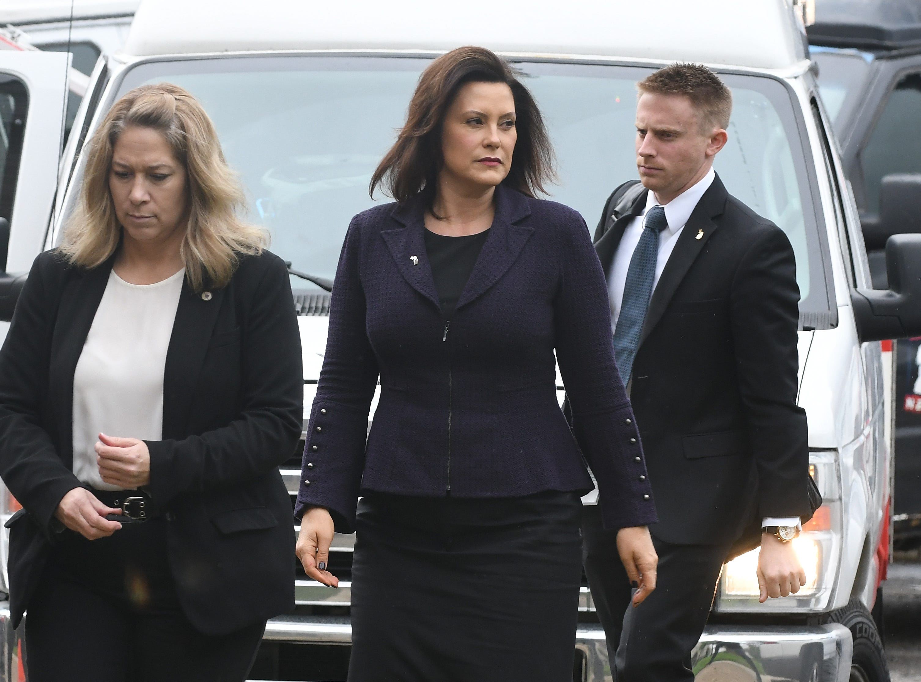Michigan Governor Gretchen Whitmer arrives for the funeral of Judge Damon Keith.