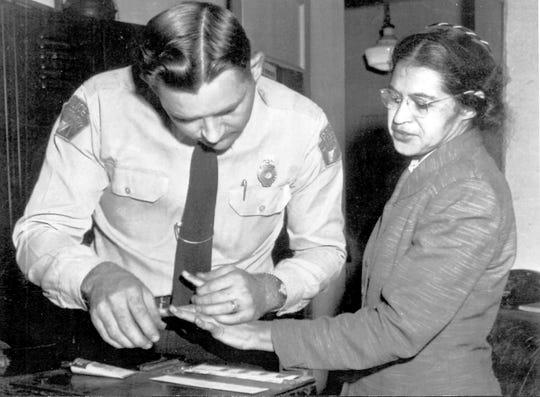 Rosa Parks fingerprinted in Montgomery, Alabama following her arrest.