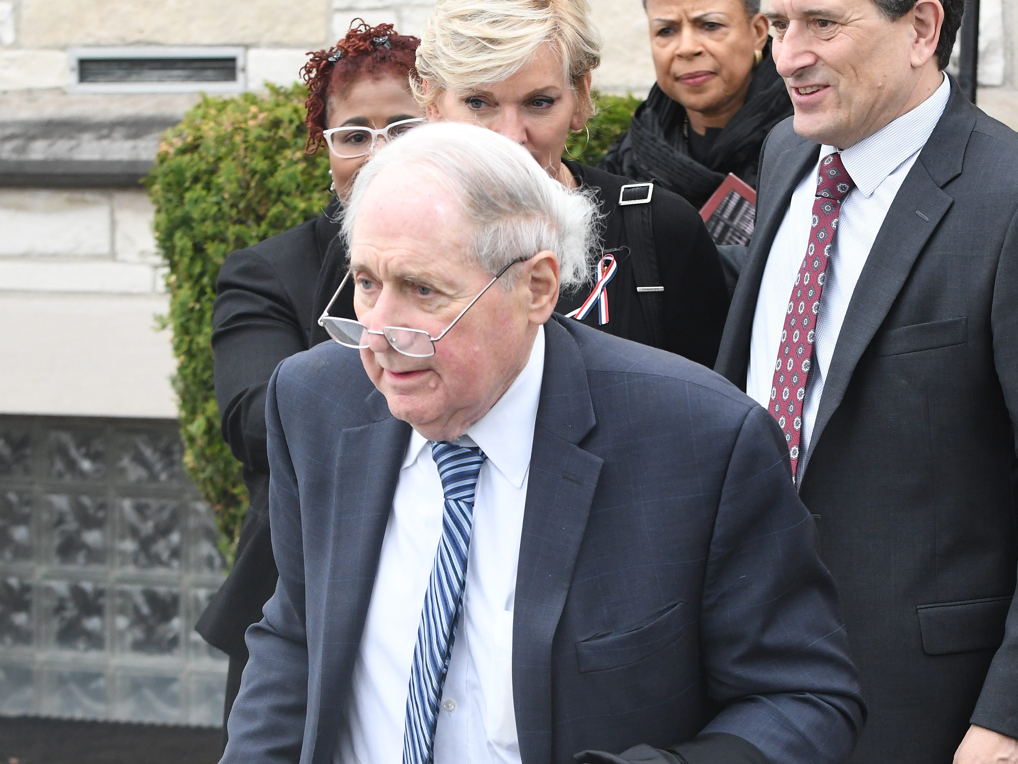 Former Senator Carl Levin leaves the church after the funeral of Judge Damon Keith.