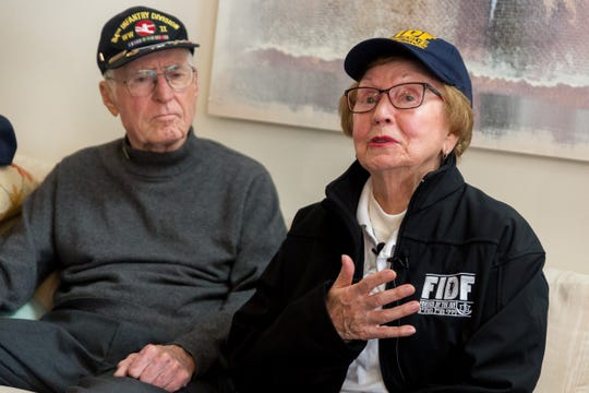 Holocaust survivor Sophie Tajch Klisman, 89, of Commerce Township, becomes emotional while talking to reporters about losing her family at the  Salzwedel concentration camp during World War II. She and her sister survived, thanks in part to American GI Doug Harvey (left) of Sterling Heights, who was part of the 84th Infantry Division which liberated the camp in April 1945.