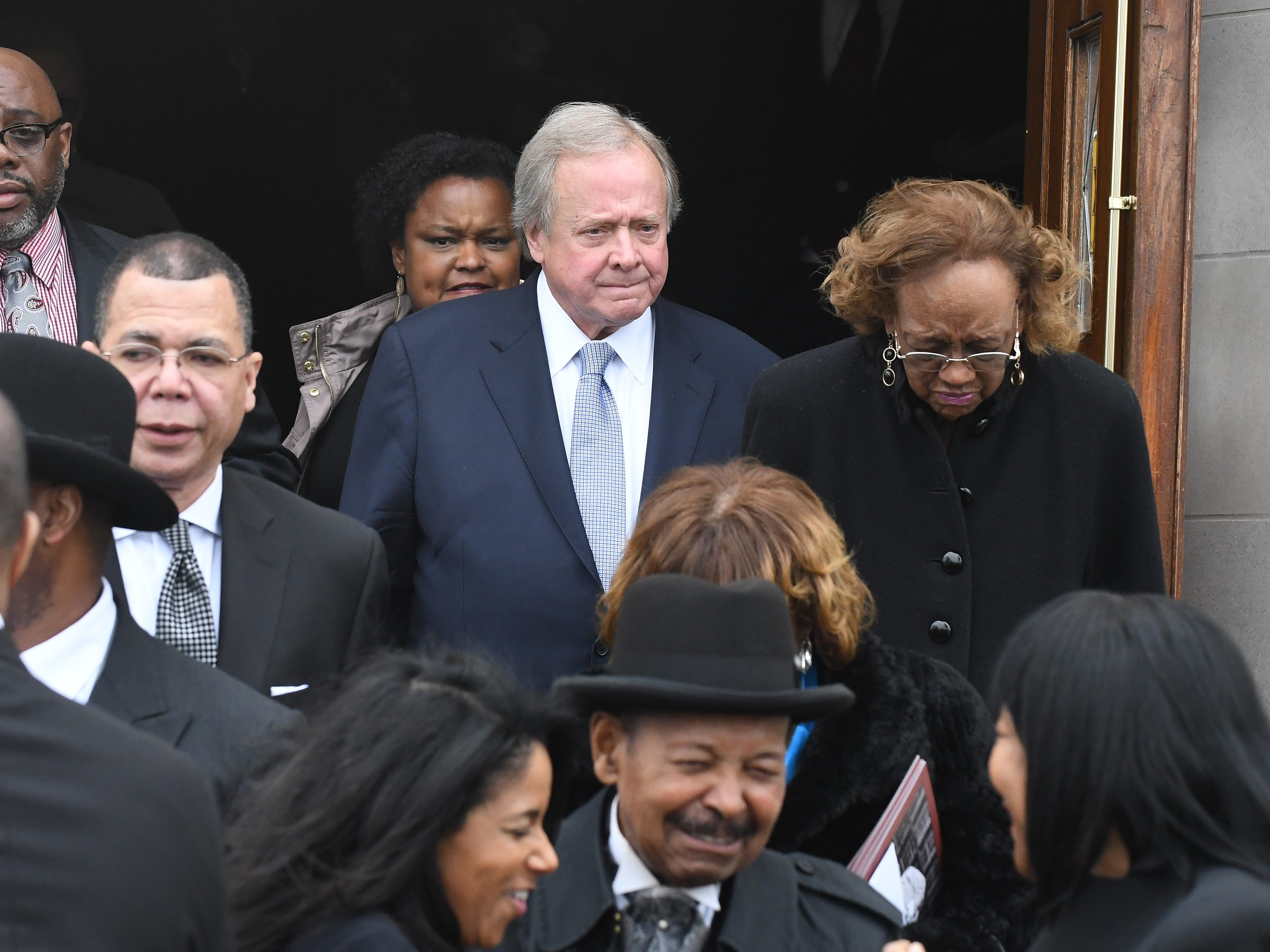 Edsel Ford II leaves the church after the funeral of Judge Damon Keith.