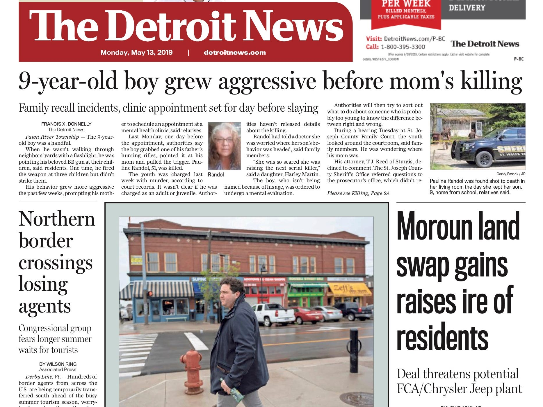 The front page of the Detroit News on May 13, 2019.
