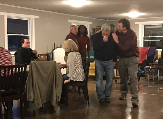 """The cast of Elmira Little Theatre rehearses """"12 Angry Jurors."""" The production will open in the Clemens Center's Mandeville Hall on Friday, May 17."""
