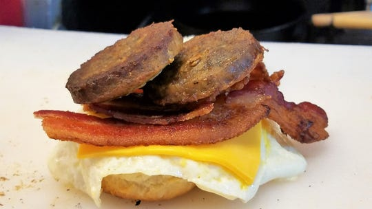 A breakfast biscuit sandwich with egg, cheese, bacon and sausage. from 6 a.m. in Eastland Mall.