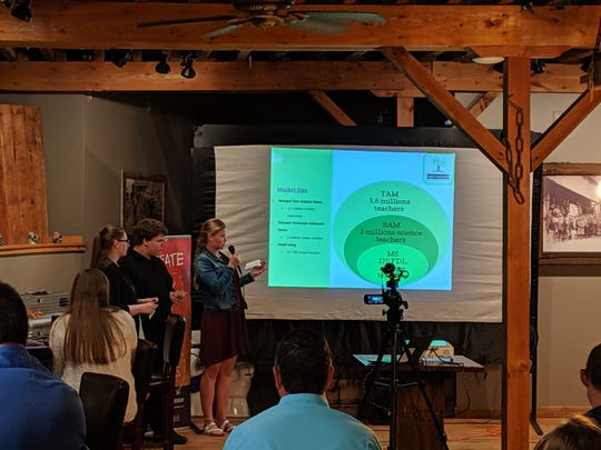 """Jenna Bledsoe, Elijah Neighbor and Marie Huber present their pitch """"Simply Recycling"""" to a panel on May 11."""