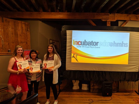 The business, Kid's Companion, took third place at the final pitch event on May 11. Pictured are Anastasia Billings, Magaly Tinoco and Makaela Ortiz.
