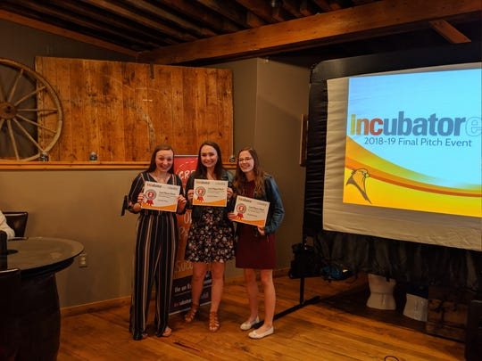 The business, Bamboob, took second place at the final pitch. Pictured are Serena Werner, Haddie Hughes and Hayley Herzig.