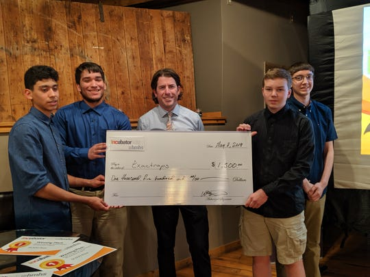 The Exactraps team took first place in the INCubatoredu@HMHS final pitch Saturday, May 11 for their tech savvy humane trap. Pictured are Dylan Ojeda, Dawson Miller, Alex Ramirez, Yahir Gomez, and teacher, Kurt Wismer.