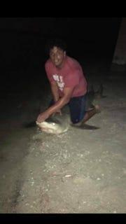 Williams Jenkins during a shark-fishing trip.