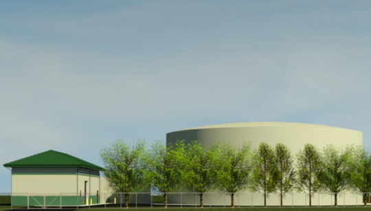 This is an image of what a planned water tower will look like from Treeline Avenue.