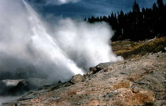 Ledge Geyser in Yellowstone National Park erupted recently after three years of inactivity.
