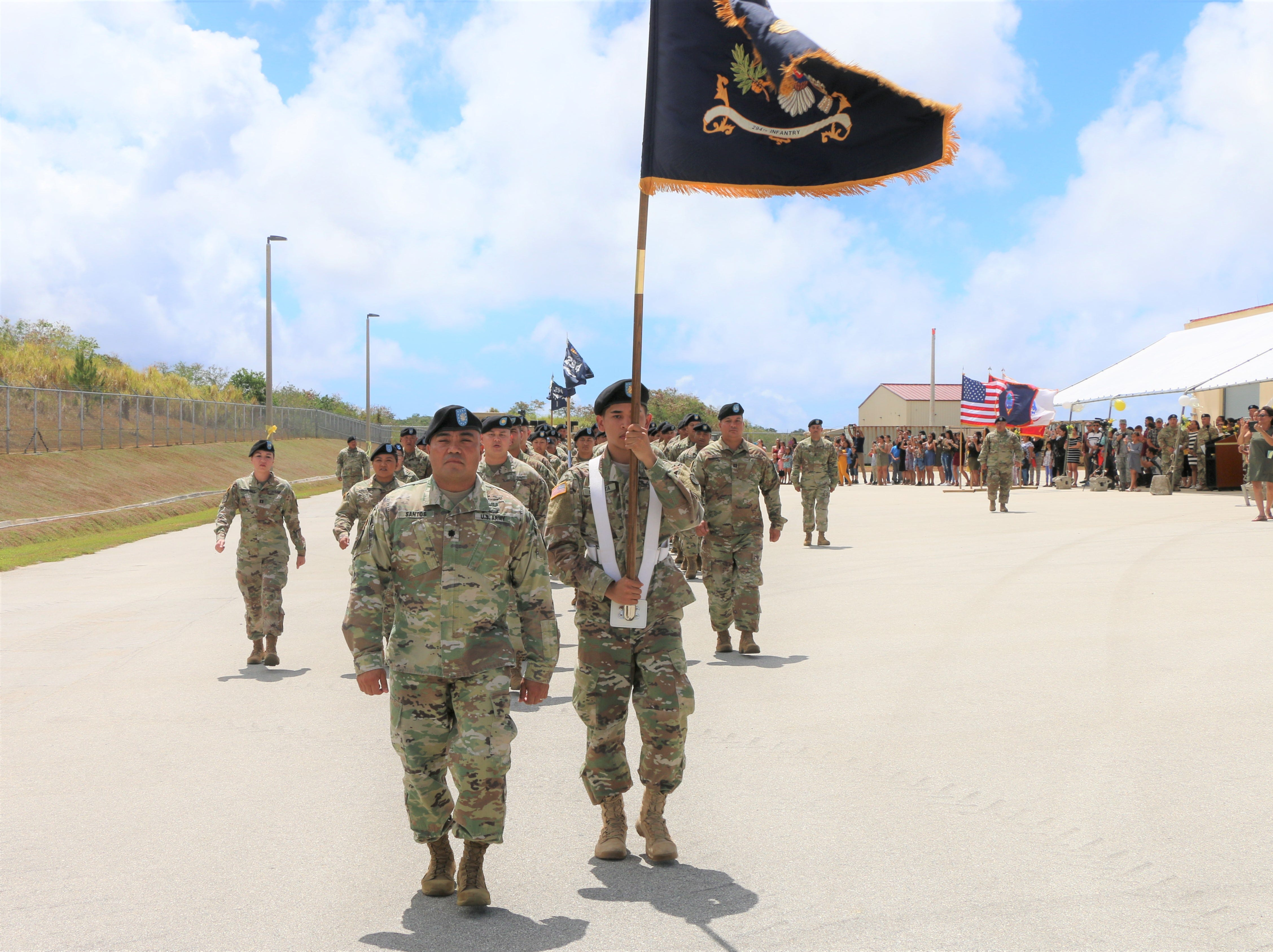 Soldiers, from the Guam Army National Guard's 1st-294th Infantry Regiment, march off at the end of a Sendoff Ceremony on Saturday, May 11, at the Guard's Readiness Center in Barrigada. The Soldiers are part of a deployment in support of a peacekeeping mission in the Sinai.