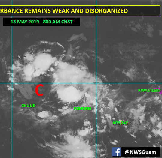 Tropical disturbance near Chuuk continues to weaken, still moving toward Marianas