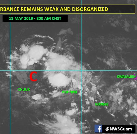 Tropical disturbance near Chuuk continues to weaken, still moving toward Marianas