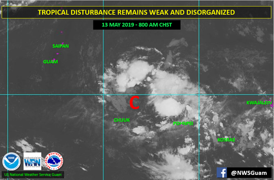 The National Weather Service continues to monitor a tropical disturbance on May 13, 2019.