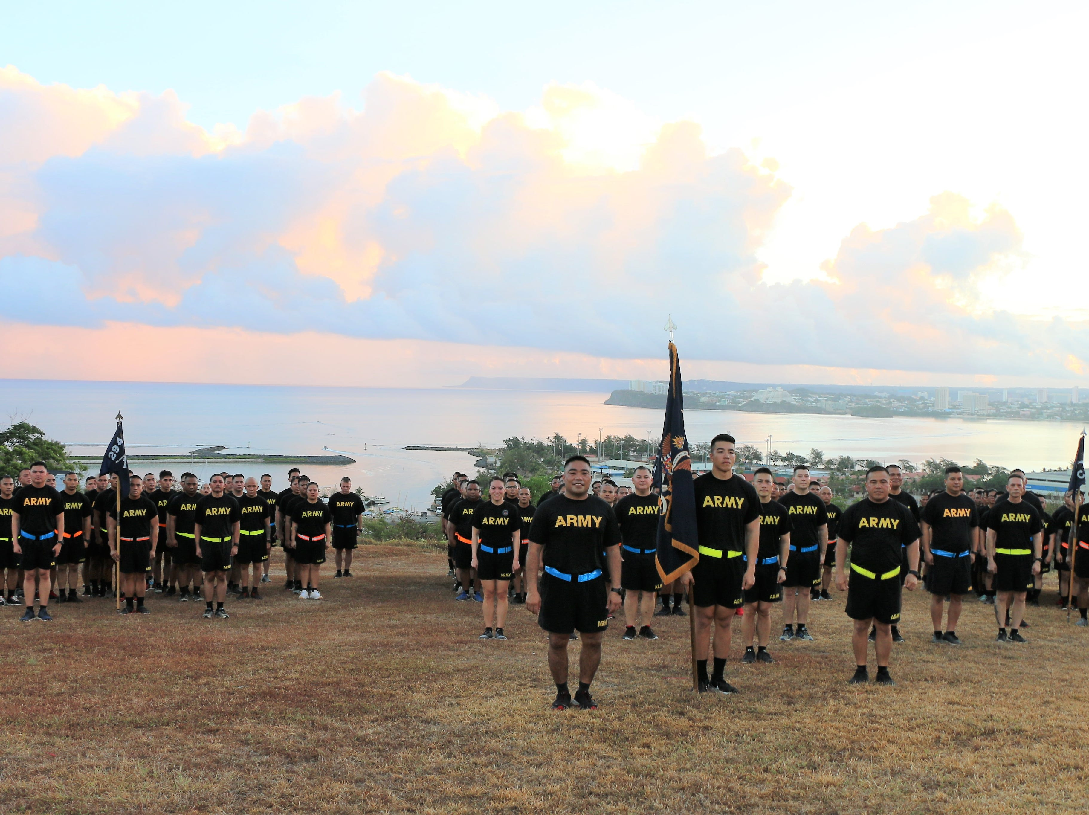 Soldiers, from the Guam Army National Guard's 1st-294th Infantry Regiment, pose for a photo at Fort Apugan, Agana Heights, on Saturday, May 11, following a command run through the village of Hagatna and Agana Heights.