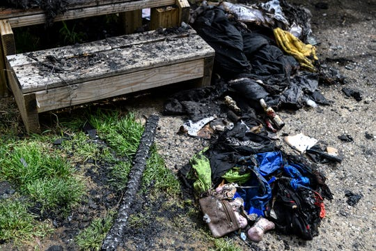 Pictured are the charred remains of a mobile home that caught fire Sunday evening, May 12, at 1599 Kentucky Ave., Lot 2, in Henderson. The Henderson County Coroner's Office identified Zachary Lee Oliver, a 22-year-old autistic man, as the sole victim of the blaze which engulfed his and his mother's residence.