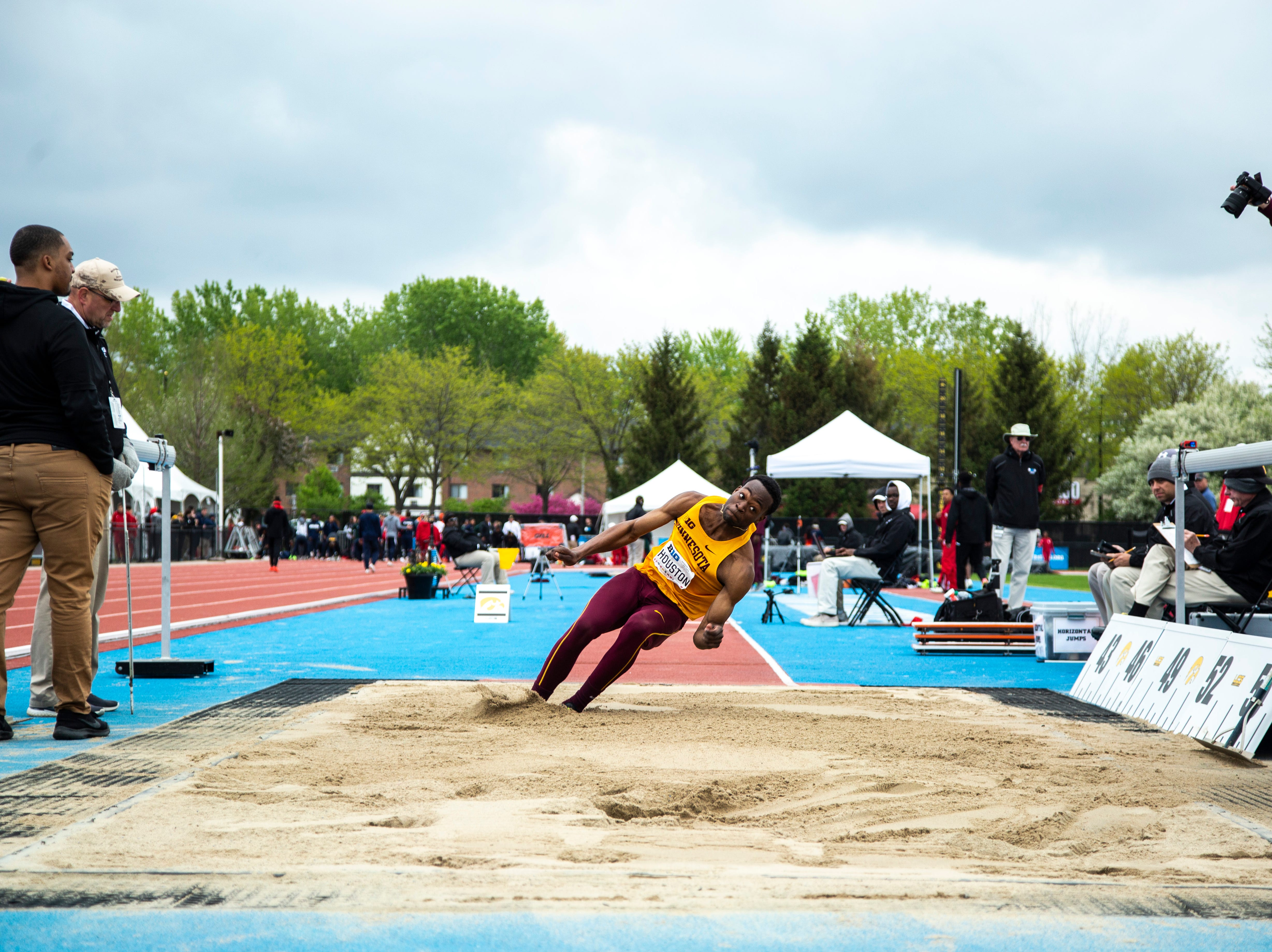 Minnesota junior Sammie Houston compete in triple jump during the final day of Big Ten track and field outdoor championships, Sunday, May 12, 2019, at Francis X. Cretzmeyer Track on the University of Iowa campus in Iowa City, Iowa.