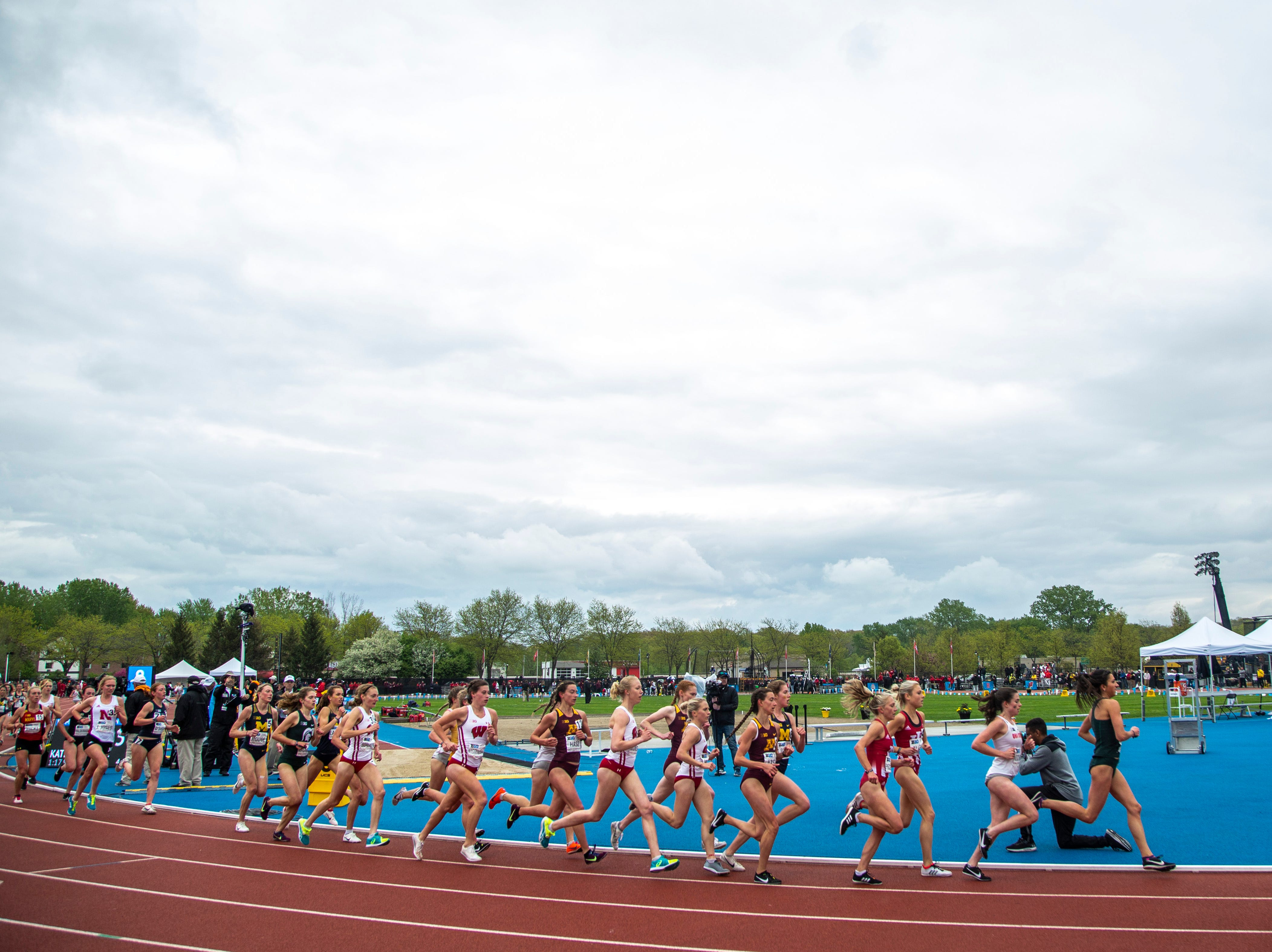 The field of women compete in the 5,000 meter final during the final day of Big Ten track and field outdoor championships, Sunday, May 12, 2019, at Francis X. Cretzmeyer Track on the University of Iowa campus in Iowa City, Iowa.