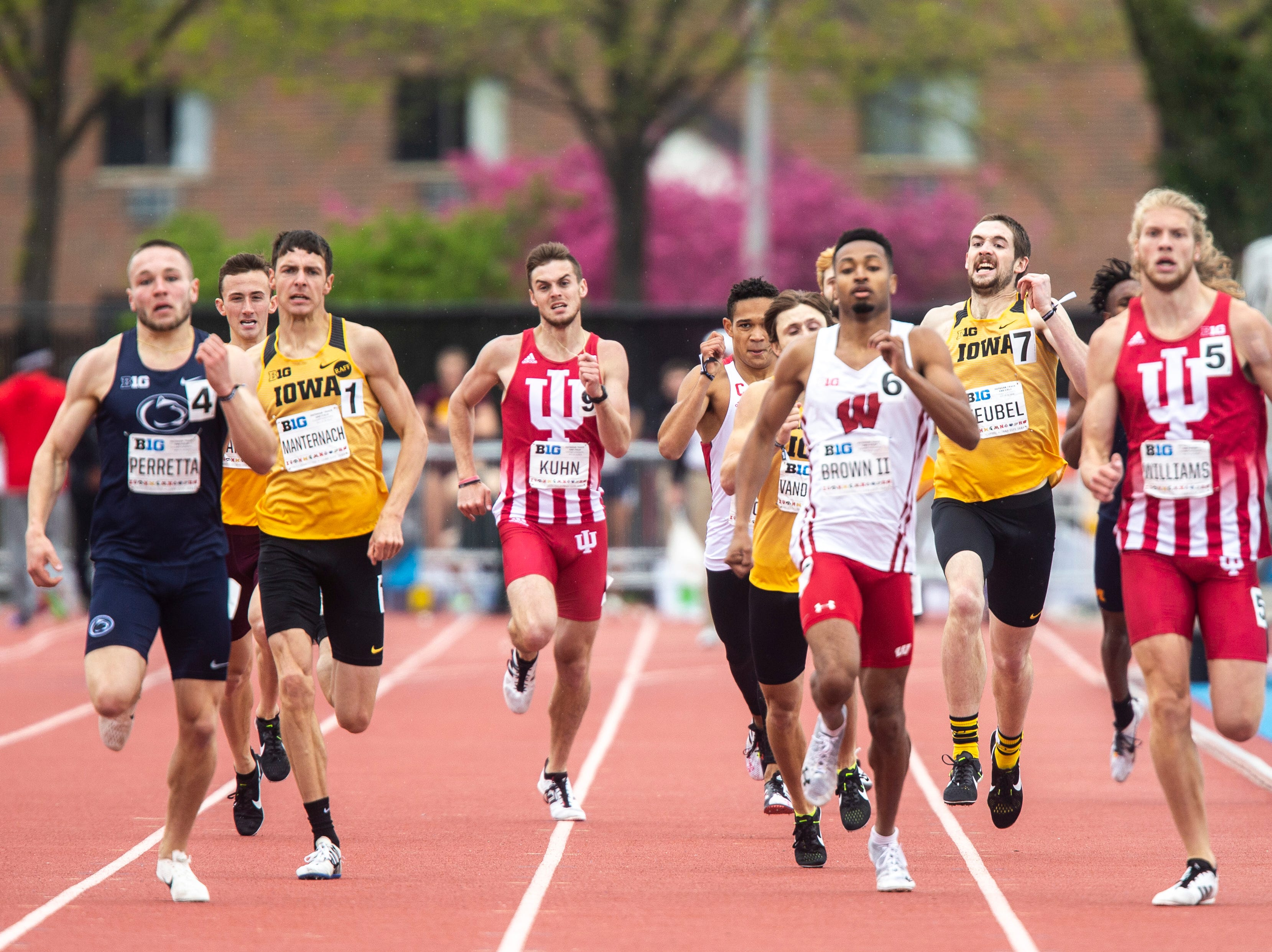 Iowa's Nolan Teubel (7) competes in the 800 meter finals during the final day of Big Ten track and field outdoor championships, Sunday, May 12, 2019, at Francis X. Cretzmeyer Track on the University of Iowa campus in Iowa City, Iowa. Teubel finished fifth, with a time of 1:49.54.