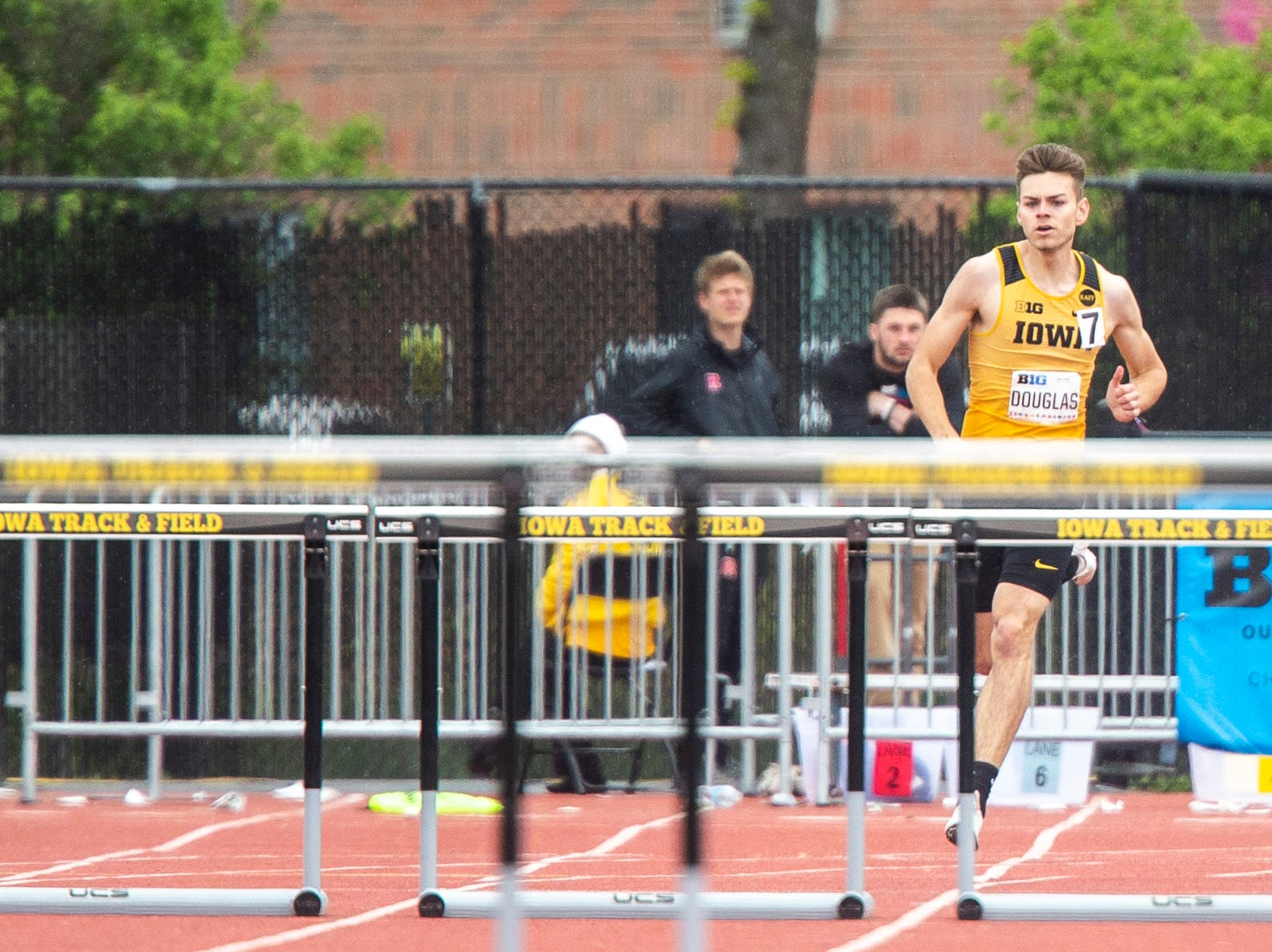 Iowa senior Chris Douglas approaches the final set of hurdles in the 400 meter hurdles during the final day of Big Ten track and field outdoor championships, Sunday, May 12, 2019, at Francis X. Cretzmeyer Track on the University of Iowa campus in Iowa City, Iowa. Douglas finished first, with a time of 50.32, a career best.