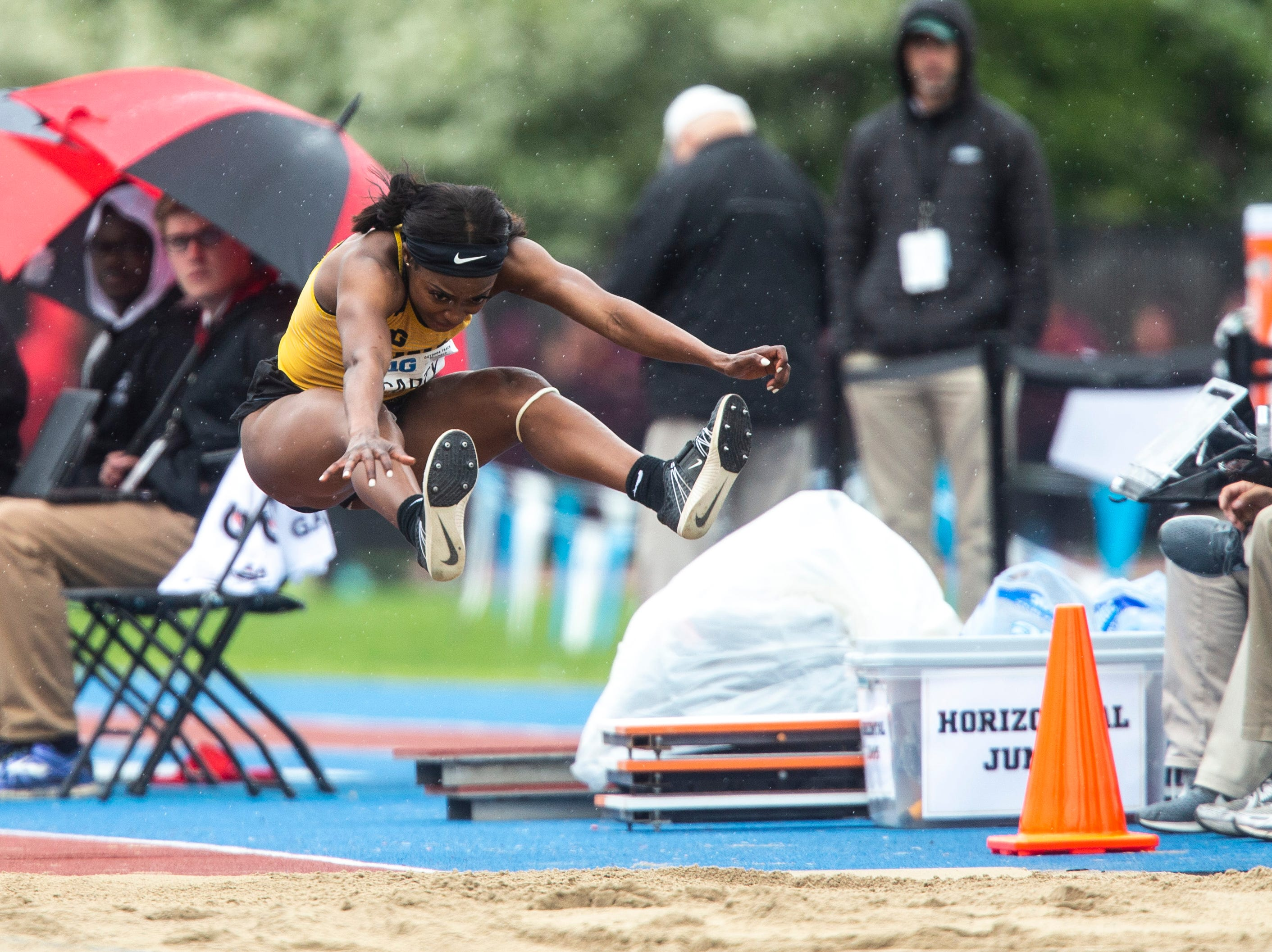 Iowa junior Amanda Carty competes in triple jump during the final day of Big Ten track and field outdoor championships, Sunday, May 12, 2019, at Francis X. Cretzmeyer Track on the University of Iowa campus in Iowa City, Iowa.