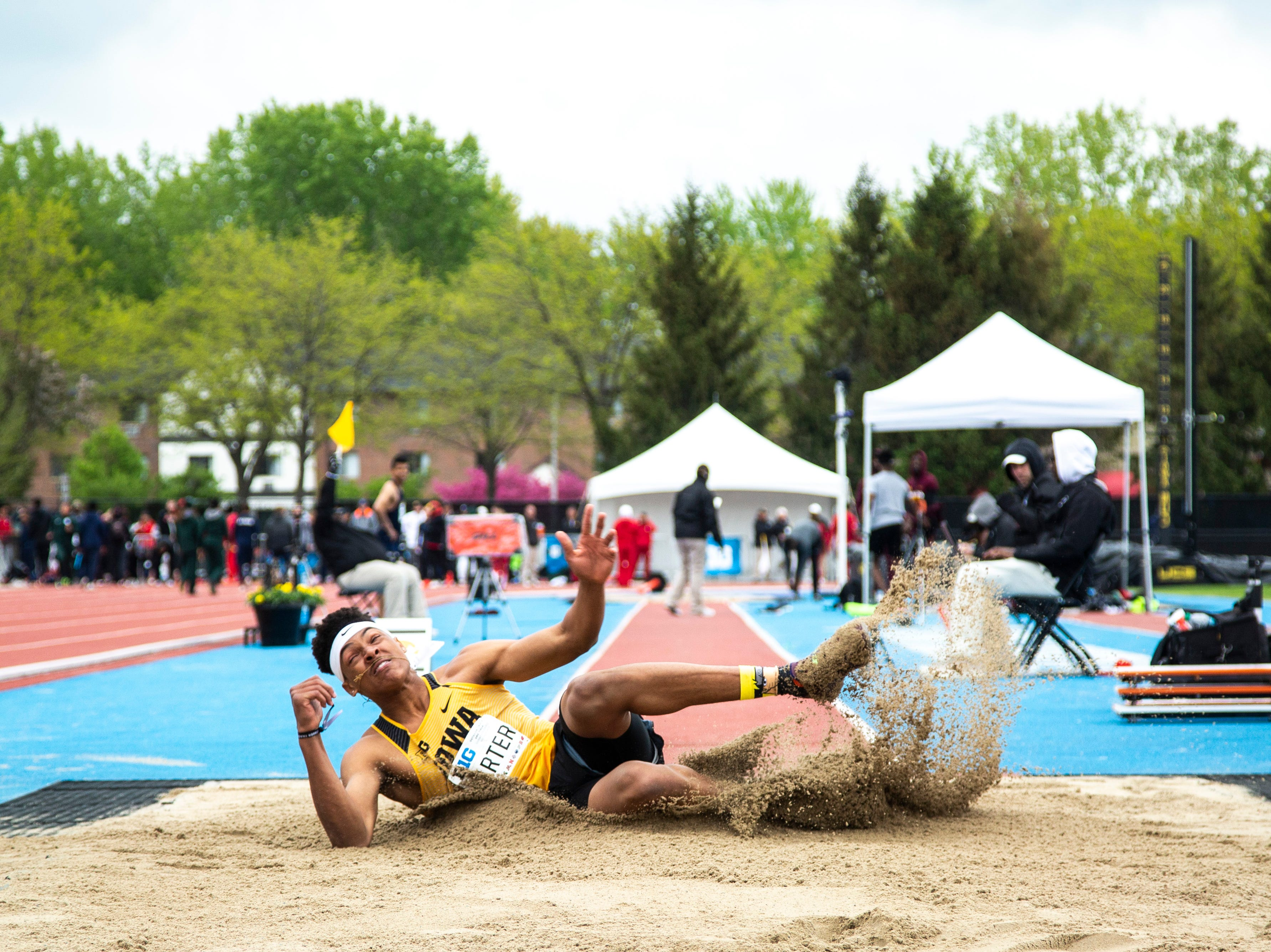 Iowa freshman James Carter competes in triple jump during the final day of Big Ten track and field outdoor championships, Sunday, May 12, 2019, at Francis X. Cretzmeyer Track on the University of Iowa campus in Iowa City, Iowa.