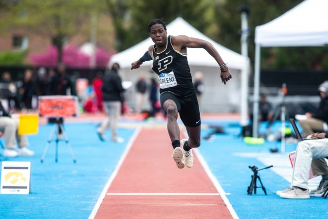 Purdue sophomore Tamar Greene competes in triple jump during the final day of Big Ten track and field outdoor championships, Sunday, May 12, 2019, at Francis X. Cretzmeyer Track on the University of Iowa campus in Iowa City, Iowa.