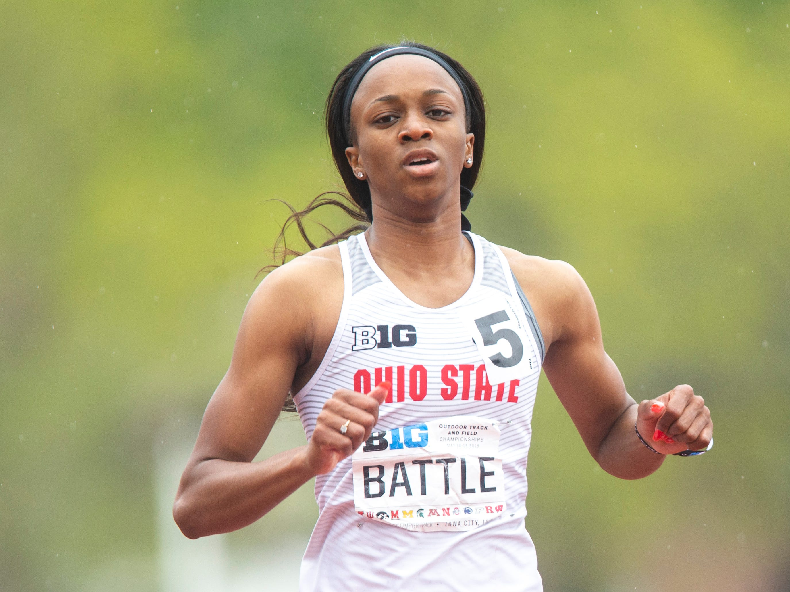 Ohio State sophomore Anavia Battle crosses the finish line in the 200 meter dash during the final day of Big Ten track and field outdoor championships, Sunday, May 12, 2019, at Francis X. Cretzmeyer Track on the University of Iowa campus in Iowa City, Iowa. Battle finished first, with a time of 22.73.
