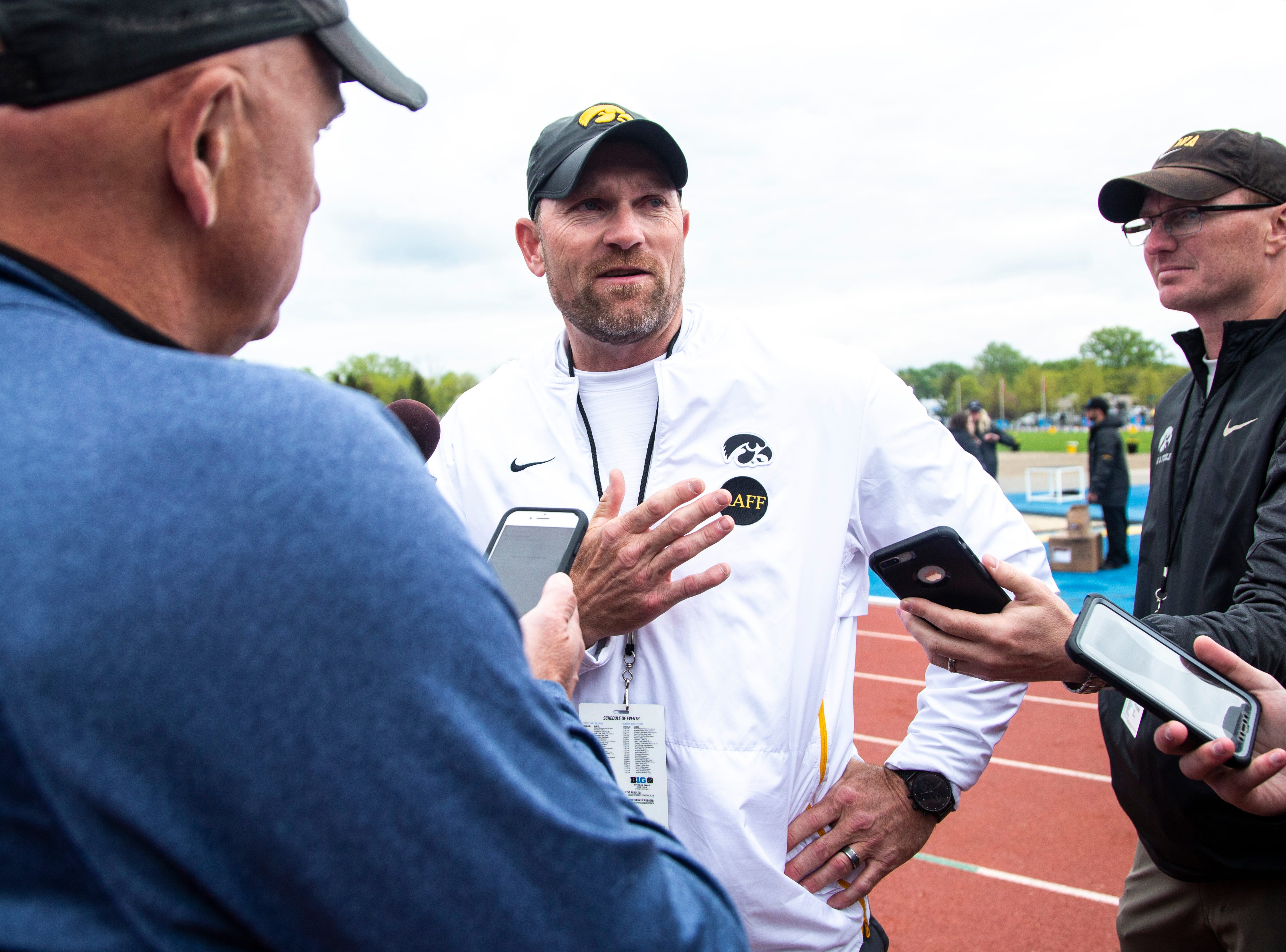 Joey Woody, the University of Iowa director of track and field, talks with reporters after the final day of Big Ten track and field outdoor championships, Sunday, May 12, 2019, at Francis X. Cretzmeyer Track on the University of Iowa campus in Iowa City, Iowa.
