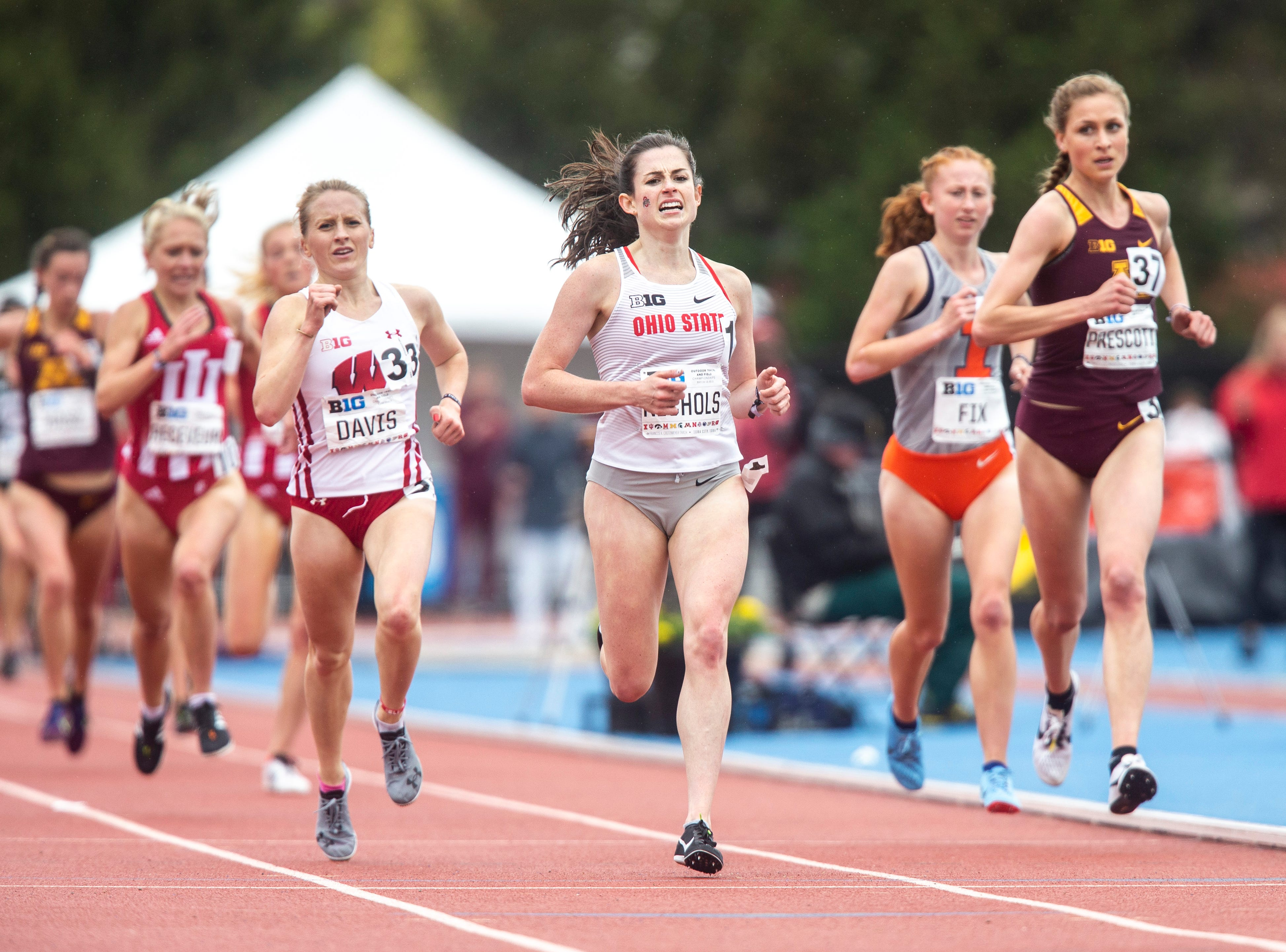Ohio State sophomore Abby Nichols crosses the finish line in the 5,000 meter finals during the final day of Big Ten track and field outdoor championships, Sunday, May 12, 2019, at Francis X. Cretzmeyer Track on the University of Iowa campus in Iowa City, Iowa. Nichols finished first, with a time of 15:56.52, setting a school record.