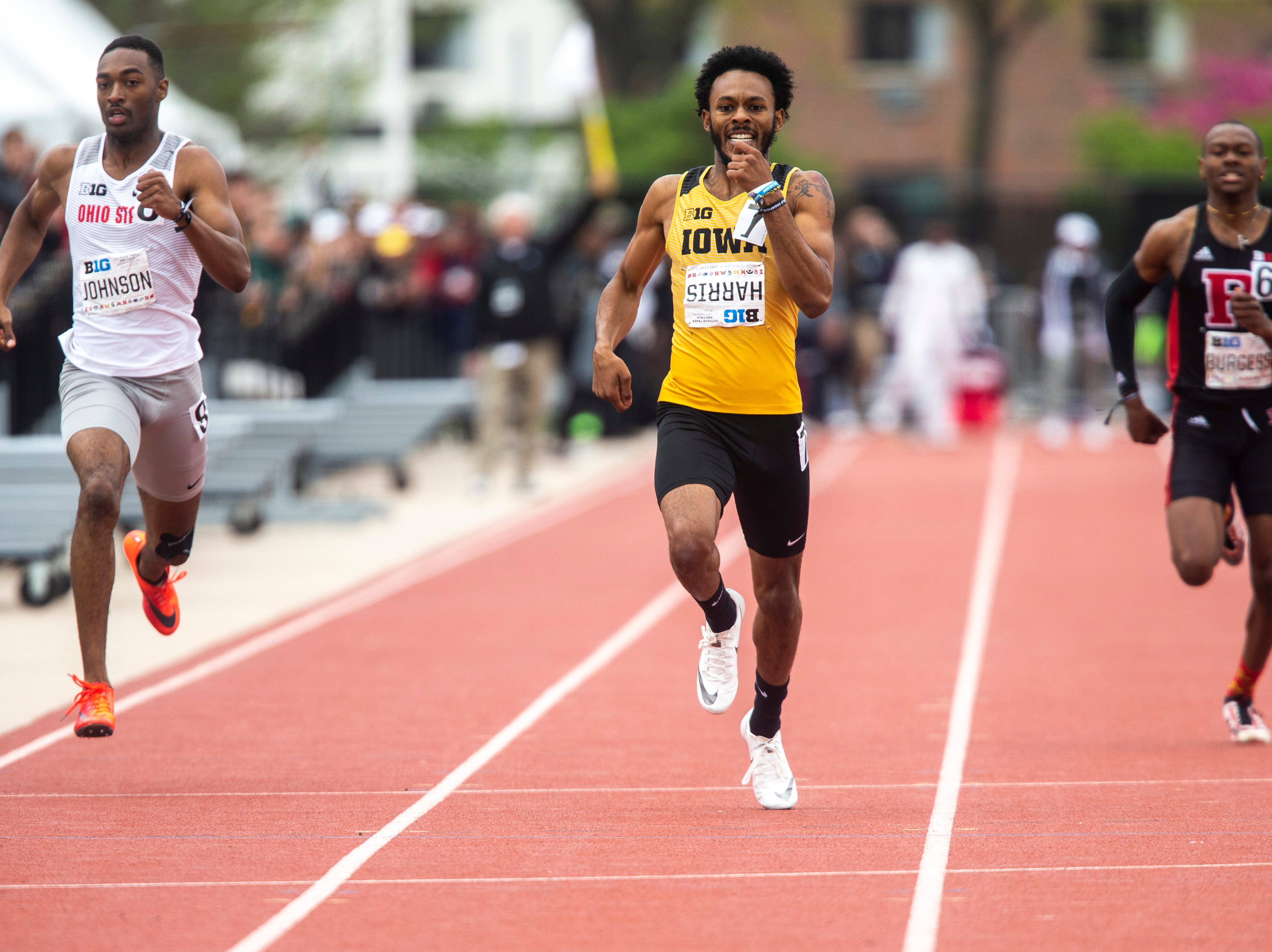 Iowa's Mar'yea Harris compete in the 400 meter finals during the final day of Big Ten track and field outdoor championships, Sunday, May 12, 2019, at Francis X. Cretzmeyer Track on the University of Iowa campus in Iowa City, Iowa. Harris finished first, with a time of 45.67.