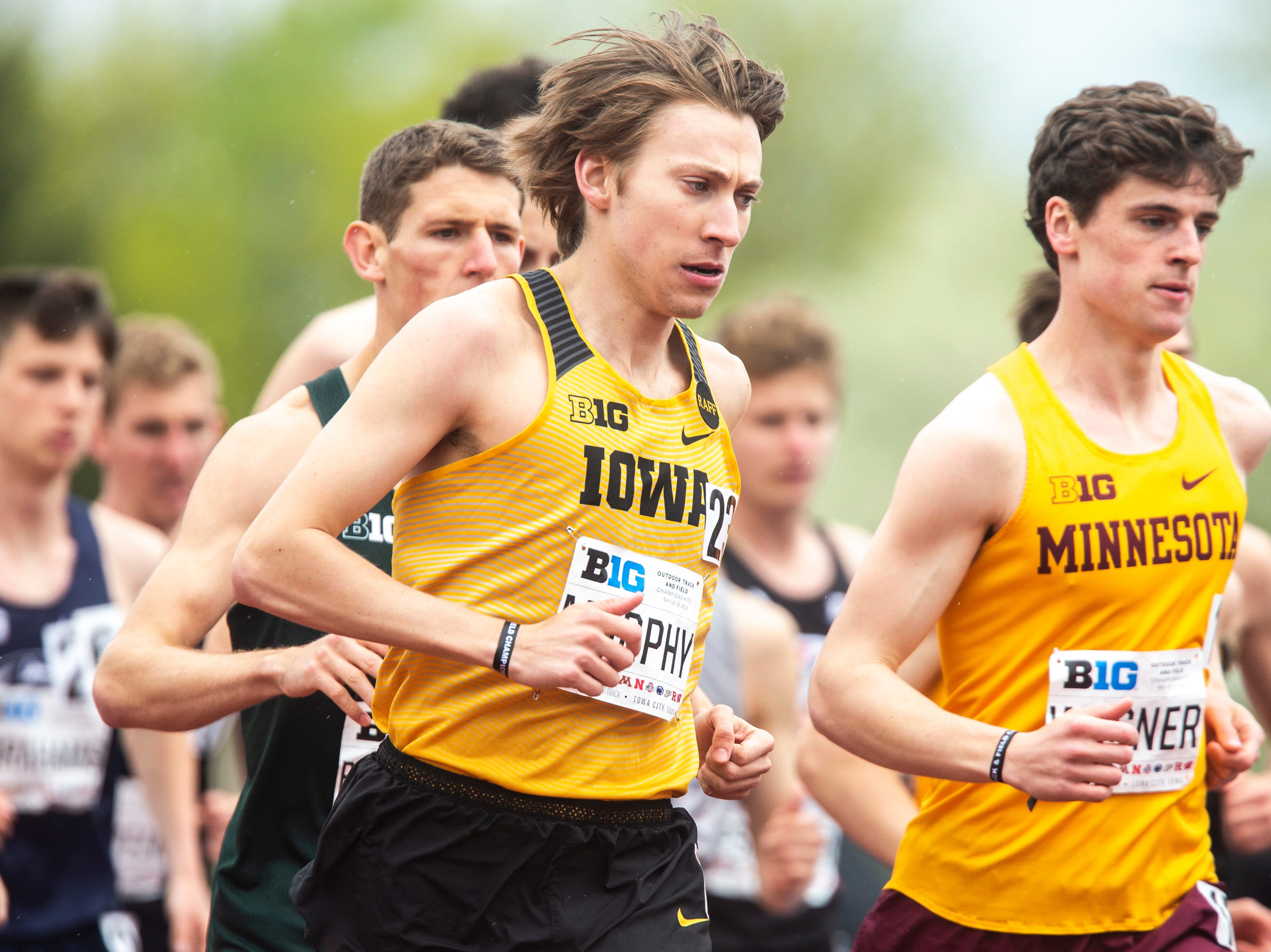 Iowa junior Daniel Murphy competes in the 5,000 meter finals during the final day of Big Ten track and field outdoor championships, Sunday, May 12, 2019, at Francis X. Cretzmeyer Track on the University of Iowa campus in Iowa City, Iowa.