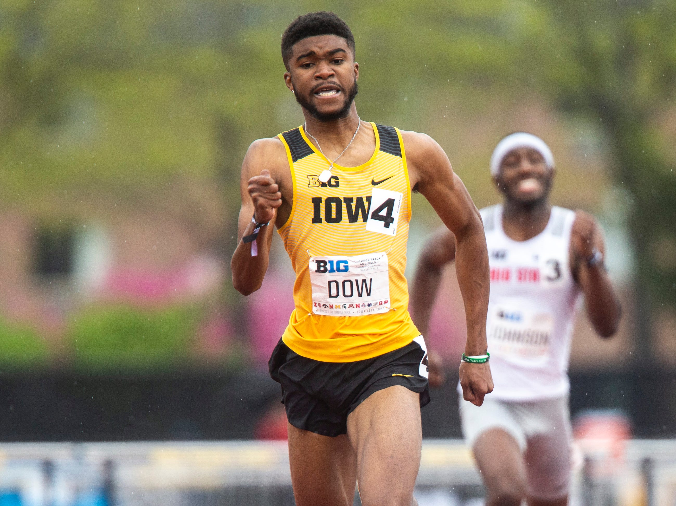 Iowa freshman Raymonte Dow competes in the 400 meter hurdles during the final day of Big Ten track and field outdoor championships, Sunday, May 12, 2019, at Francis X. Cretzmeyer Track on the University of Iowa campus in Iowa City, Iowa. Dow finished third, with a time of 51.37.