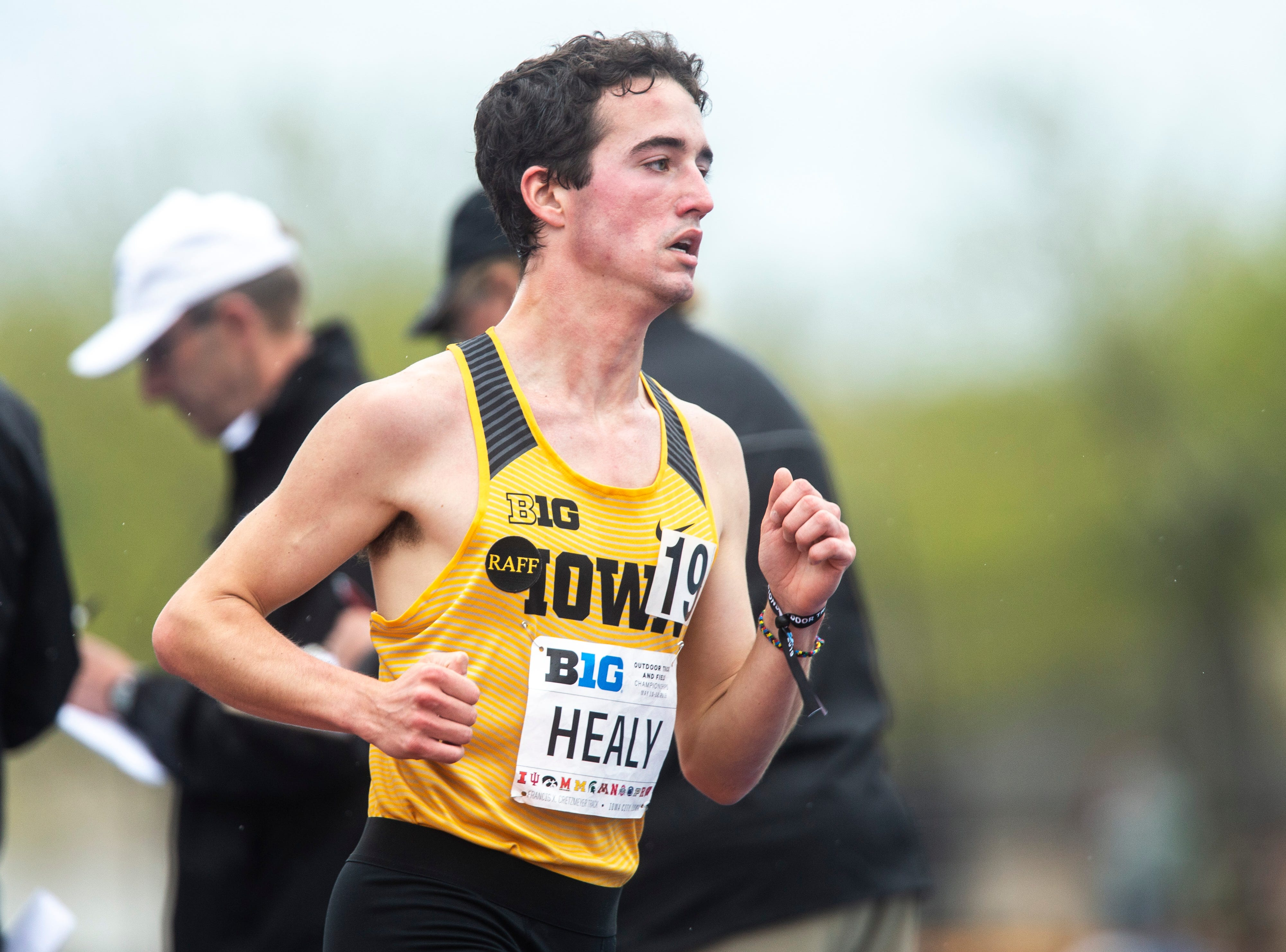 Iowa freshman Noah Healy competes in the 5,000 meter finals during the final day of Big Ten track and field outdoor championships, Sunday, May 12, 2019, at Francis X. Cretzmeyer Track on the University of Iowa campus in Iowa City, Iowa.