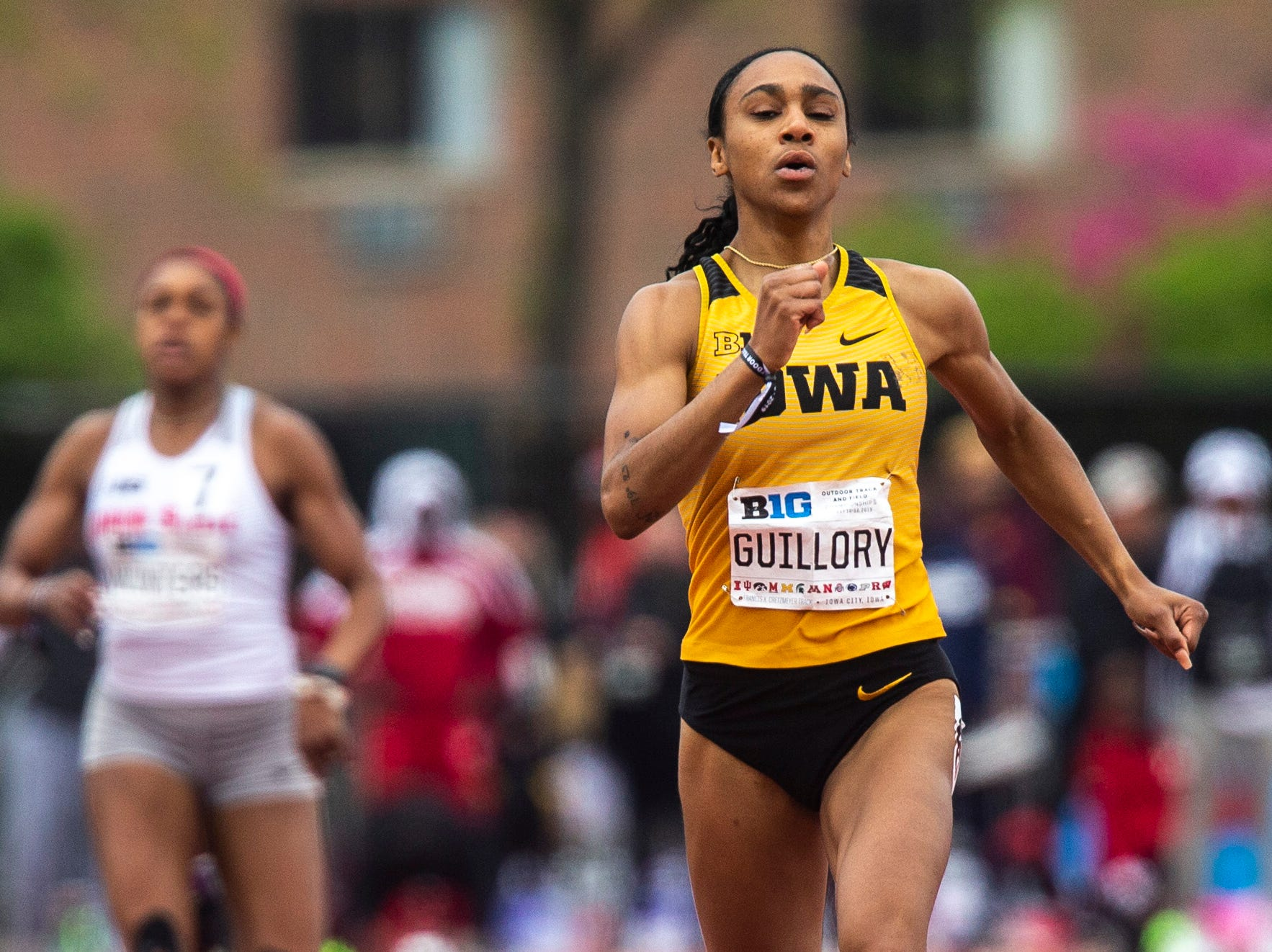 Iowa senior Briana Guillory competes in the 400 meter finals during the final day of Big Ten track and field outdoor championships, Sunday, May 12, 2019, at Francis X. Cretzmeyer Track on the University of Iowa campus in Iowa City, Iowa. Guillory finished second, with a time of 52.66.