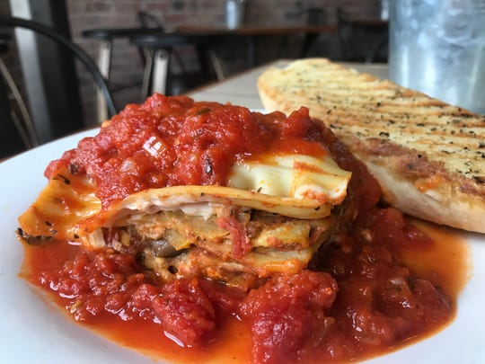 Vegan lasagna layers eggplant, zucchini, yellow squash and ricotta-style nut and tofu cheese at 10th Street Diner.  The vegetarian restaurant opened May 11, 2019, at 3301 E. 10th St., Indianapolis.