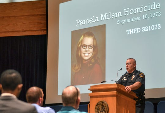 Terre Haute Chief of Police, and lead detective on the cold case of Pamela Milam's 1972 homicide, Shawn Keen speaks during a news conference at Indiana State University in Terre Haute, Ind., Monday, May 6, 2019. Police say Jeffrey Lynn Hand, just identified as the killer of Pamela Milam, an Indiana State University student in 1972, was killed in a shootout with police six years later. (Austen Leake/The Tribune-Star via AP)