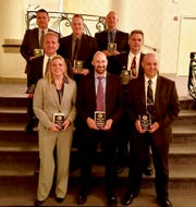 Nine Indiana officers were honored by the National Association of Police Organizations for their work in solving a 30-year-old homicide case. Top row: Allen County Sheriff's Department Det. Sean Kelly, Officer Darren Compton, Fort Wayne Police Department Det. Brian Martin. Middle row: Allen County Sheriff's Department  Officer Tim Loe, Indiana State Police Det. Kevin Smith. Bottom row: FBI Supervisory Special Agent Kerri L. Reifel, Special Agent Jeffrey Robertson and ISP Det. Clint Hetrick.