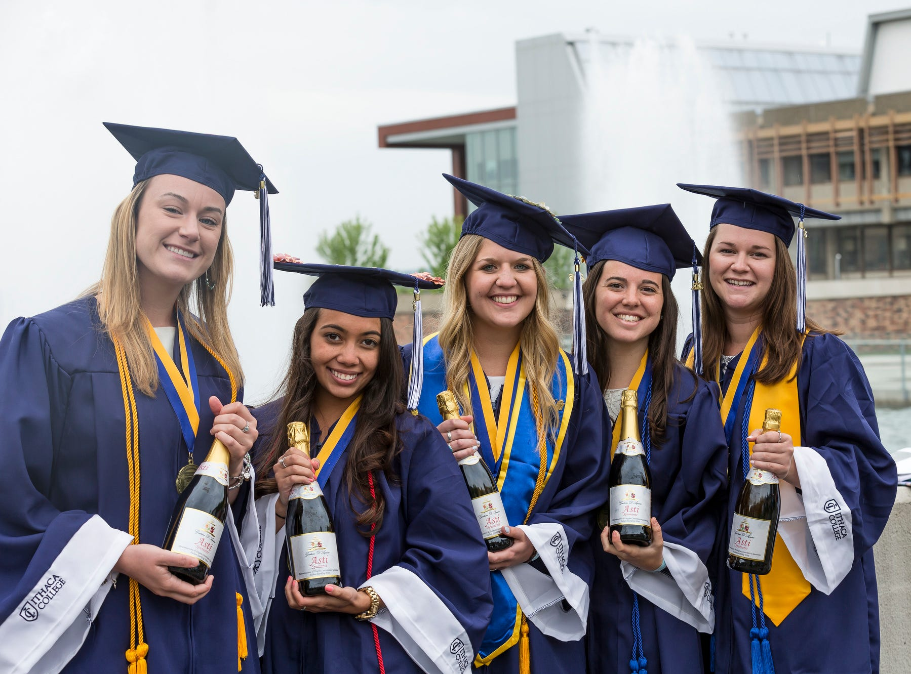2016: From left, Danielle Kawryga, Jenna Johnson, Alix Gershun, Danielle Koenig, and Hannah Fenton celebrate after the 121st Ithaca College Commencement ceremony on Sunday.