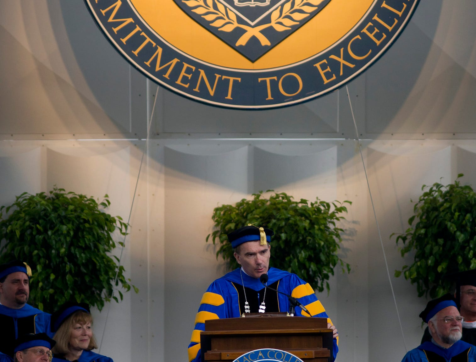 2010: President Thomas R. Rochon addresses the graduates during the Ithaca College Commencement Ceremony Sunday in Butterfield Stadium.